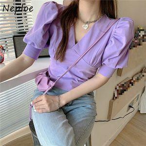 Neploe Blouse Women Solid Chic V Neck Puff Short Sleeve Ladies Blusa Shirts Summer 2020 Fashion Casual Female Slim Tops 1E140