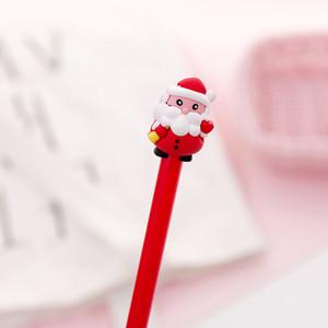 플라스틱 크리스마스 젤 펜 학생 크리 에이 티브 만화 펜 블랙 0.38mm 사무실 학교 서명 편지지 크리스마스 선물 HWB1528