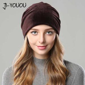 JIYOUOU chapeaux d'hiver pour les femmes Cagoule filles chapeau double couche douce masque ski automne chaud votre confort Skullies molletonné