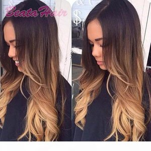8A Natural Wavy Full Lace Human Hair Wigs for Black Women Brazilian hair Three Tone #1b 4 27 ombre color Lace Front Wig