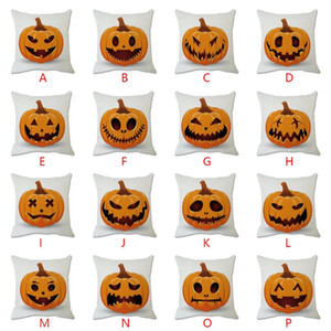 Halloween Pumpkin Expression Printing Cotton Soft Linen White Throw Pillow Case Cushion Cover Home Living Room Sofa Decoration