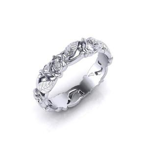 New women's elegant retro flower leaf ring engagement wedding female birthday gift prom jewelry wholesale