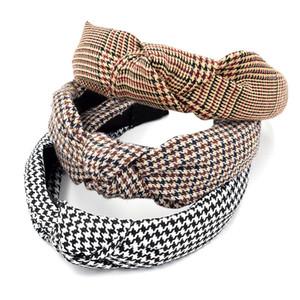 Big Girls Plaid Sticks Hair Boutique enfants Houndstooth Accessoires cheveux Checkered enfants Lattice femmes serre-tête cravate en tissu de A4306