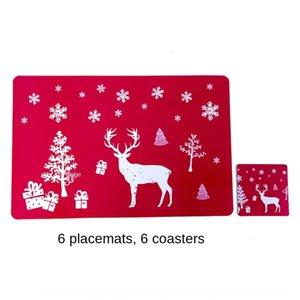 Xibao nova decoração de Natal mat copo copo refeição criativo PVC impresso jantar montanha-mat 6 pacotes cada vQMlf