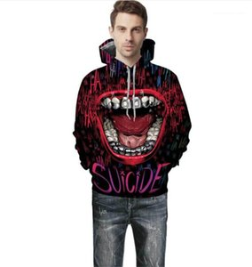 Clothes Big Mouth Print Man Hoodies Fashion Laugh Funny Donna Tops Spring And Autumn Couples Matching