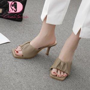 DoraTasia 2020 nouvelle mode des femmes Mules Sandales Talons mince Peep Toe plissé Pompes d'été Chaussures Femme Casual