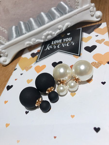 Korean Classic All-Matching Graceful Double-Headed Wear Beads Size Light White Frosted Black Double-Sided Pearl Stud Earrings Earrings Jewel