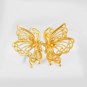Filigree Hollow Butterfly Charm Earrings 18K Yellow Gold Filled Fashion Womens Girls Perfect Elegant Stud Earrings Gift