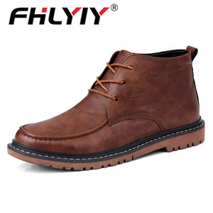Fhlyiy Brand New Autumn Men Boots High Quality Split Leather Men'S Motorcycle Boots Outdoor Men'S Ankle Soft Men Shoes