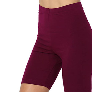 longitud del color sólido del medio del muslo de algodón elástico Span altura de la cintura de los pantalones cortos de las polainas de Active Drop Shipping
