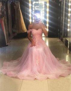 Sweet Pink Evening Dress Sexy Off The Shoulder Long Prom Gown Vestidos De Festa Custom Made
