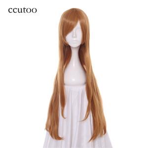 ccutoo Sword Art Online Yuuki Asuna 80cm de oro de Brown recta larga trenza de pelo labró sintético del partido de Cosplay de la peluca