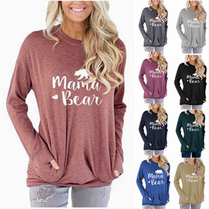 2020 New Clothing Cheap China wholesale Women's hoodie Ladies Pocket Sweatshirt Mama Bear Letter Print Loose Round Neck Long Sleeve T-shirt