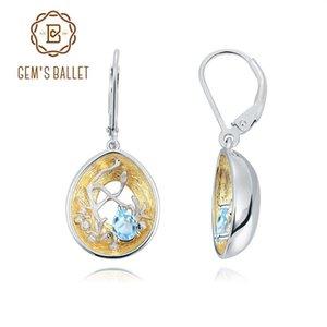 GEM Ballet 925 18k Gold over Hollow mano Germoglio orecchini di goccia naturale svizzero topazio blu orecchini per le donne