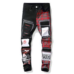 cráneo de los nuevos hombres impresa escocesa tela escocesa del remiendo los pantalones vaqueros de moda parches negro diseño rasgado denim en dificultades pantalones largos pantalones
