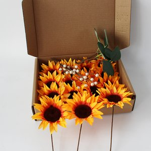 16PCS Artificial Sunflower Blumen Big Head für DIY Wedding Bouquets Mittelstücke Brautparty-Party-Hauptdekorationen