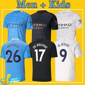 Manchester man Soccer Jersey 2021 City Home Away Third Maillot De Foot KUN AGUERO MAHREZ 20 21 STERLING Men Kids kit Football Shirt
