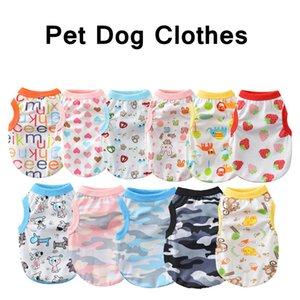 Ropa para perros Chaleco de perro de verano Impresión de dibujos animados Puppy Ropa de perros Moda Outwears Chaqueta casual de algodón para perros de mascotas Ropa Envío gratis HHD1631