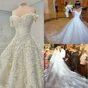 New Berta Fashion Handmade Crystals Beads Cathedral Train Spring Summer Country Wedding Dress Bridal Gown With Sheer Back AQ177