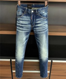 2020 Yeni TasarımcılarDSquaredDSQ2D2Biker Jeans Rock Revival Jeans 9715 2 20fw Erkekler Lüks Denim Jeans Delikler Pantolon Pantolon