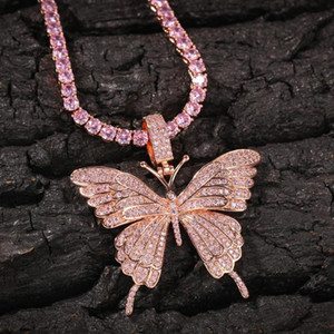 Animal Butterfly Necklace & Pendant Iced Out Tennis Chain Gold Color Cubic Zircon Men's Women Hip hop Rock Jewelry