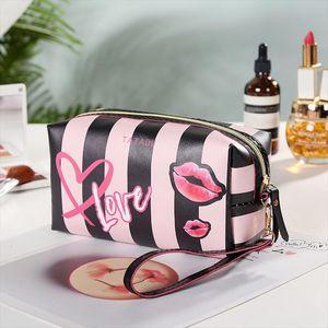 WULI Portable 5 Colors Make Up Organizer Bag Toiletry Bathing Storage Bag Women Waterproof 3D Print PU Travel Cosmetic Bag