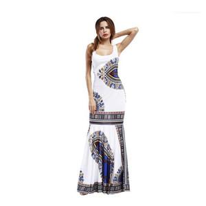 Scoop Neck Trumpet Female Clothing Strapless Maxi Casual Print Women Dresses Summer Sexy Ladies Sleeveless Beach Dress