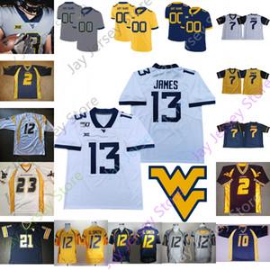 Batı Virjinya Dağcılar WVU Futbol Jersey NCAA Kolej Austin Kendall Kennedy McKoy Leddie Brown Sam James Darius Stills Will Grier