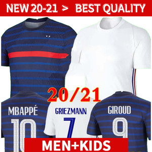 20 21 France Mbappe Grizmann Pogba الفانيلة 2020 2021 كرة القدم جيرسي كرة القدم قمصان مايلوت دي القدم الرجال + أطفال كيت