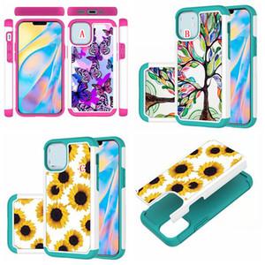 Sunflower Armor Hard Case For Iphone 12 LG K40 LV3 2018 Stylo 5 6 V60 K3 2019 K51 K31 Hybrid Shockproof 2in1 Butterfly Tree Phone Cover Back