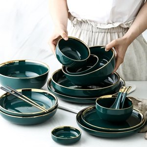 New Green Ceramic Gold Inlay Plate Steak Food Plate Nordic Style Tableware Bowl Ins Dinner Dish High End Porcelain Dinnerware Set