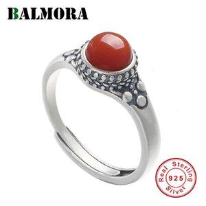 Kadınlar Hediye Moda Retro Takı anillos için Balmora% 100 Gerçek 925 Gümüş Güney Kırmızı Carnelian Resizable Yüzük