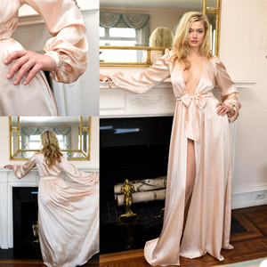 Pajamas Women Robe Sexy Deep V Neck Nightgown Long Sleeve Elastic Satin Sleepwear Bathrobe Ladies Mesh Skirt Prom Bridesmaid Shawel