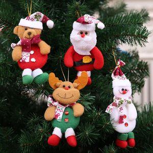 Christmas Tree Ornament Hanging Ornament Santa Claus Snowman Bear Doll Christmas Pendant Decoration Home Xmas Party Decorations OWB1771
