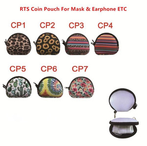 New MultiFunction Neoprene Small Coin Purse Coin Purse Face Mask Holder For Earphone Bags Zipper Change Purse Zipper Coin Pouch With Keyring