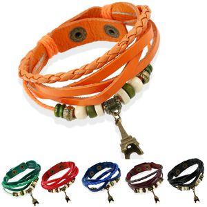 dankaishi Mode Mignon personnel Tour Eiffel en cuir Bracelet en cuir coloré Multilayer Tresse pour les femmes filles cadeau