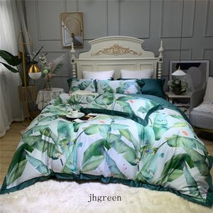 Retro Green Bedding Sets Leaf Print Designs Bed Cover Sets 4 Pieces King Queen Luxury Pillow Case Duvet Cover Comforters Case Sets