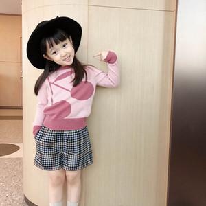 Nuevas de la niña de los muchachos suéter trajes de rosa de la muchacha de los niños del suéter pantalones cortos 2pcs suéter con lana conjuntos de invierno pantalones ropa de niños