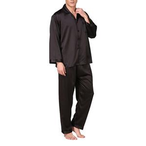 Moderna Stain Seta Pijama Hombre solido allentato pigiameria uomini sexy completi da notte di sonno pantaloni Lounge Pajama Set casuale del vestito Notte