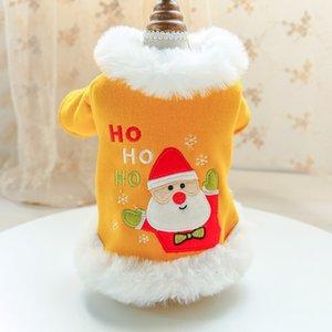 Collare peluche vestiti del cane di Natale inverno ispessimento Warm Babbo Natale Stampa Coat vacanze Costumi Gatti Abbigliamento Teddy Yellow Pet