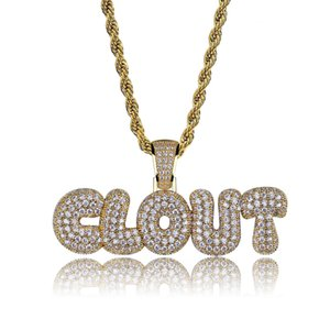 Hip Hop Clovt Diamond Custom Name Combination Bubble Letter Pendant Necklace Micro Cubic Zirconia Gold Silver Color Copper Pendant Necklace