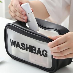 Fashion Waterproof Transparent Makeup Bag Large Capacity Ladies Portable Wash Bag Cosmetic Storage Bag Bathroom Organizer T200301