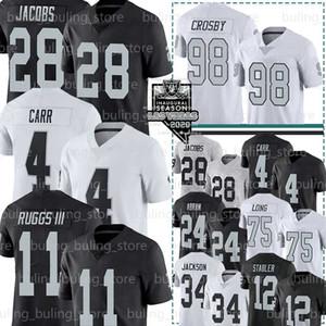 Las VegasRaiders Trikots 28 Josh Jacobs 4 Derek Carr 98 Maxx Crosby 11 Henry Ruggs III Bo Jackson Ken Stabler Johnathan Abram