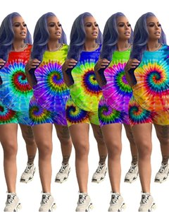 women new summer black hole tie dye 3d print short sleeve o-neck t shirts & shorts suit two piece set sporty tracksuit GLLQ5047 X0924
