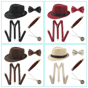 25 1920s Mens Cosplay Costume Accessories Set Manhattan Hat Suspenders Pre-Tied Bow Tie Fake Plastic Pocket Watch