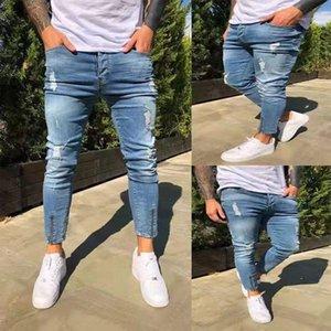 Giyim Erkek 2020 Tasarımcı Biker Jeans Delik Skinny Yüksek Bel Elastikiyet Kalem Pantolon Moda Casual Erkek