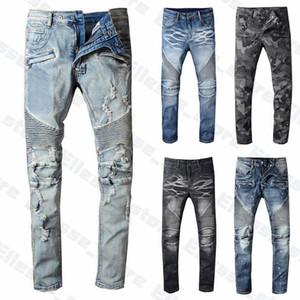 20SS Mens Designer Jeans Проблемные Ripped Байкер Slim Fit мотоцикл байкера джинсовые для мужчин лутше качество Мода Mans штаны вылить Hommes
