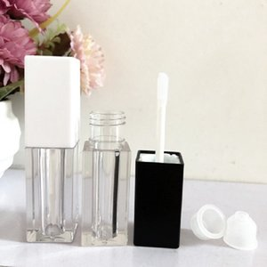 5 ML Lip Gloss Wand Tubes Square Matte Black White Cosmetic Container Makeup Packaging Empty Lipgloss Containers with Brush