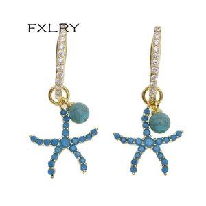 FXlry Venta caliente de la moda de las estrellas de las estrellas cuelga Pendientes Micro-incrustado Zircon Starfish Pendientes para las mujeres Regalo de Navidad