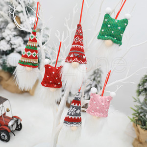 Christmas Tree Hanging Ornament Knitting Cartoon Santa Claus No Face Doll Christmas Pendant Home Xmas Party Decorations 3pcs set RRA3590